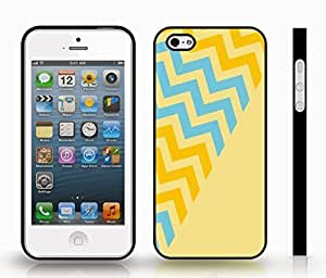 Case For Ipod Touch 5 Cover with Chevron Pattern Vanilla/ Green/ Sky Blue Stripe , Snap-on Cover, Hard Carrying Case (Black)