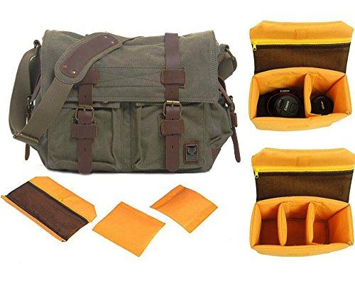 FXTXYMX DSLR SLR Camera Messenger Bag Vintage Canvas Satchel School Shoulder Bag with Shockproof Partition Padded Liner Bag(Army Green) (Utility Green Putting)