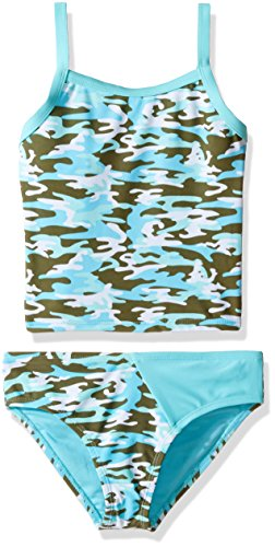 YMI Big Girls' Ms. America Two Piece Camouflage Tankini Swimsuit, Blue Radiance, 7/8