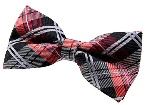 Retreez Elegant Tartan Plaid Check Woven Microfiber Pre-tied Bow Tie (5