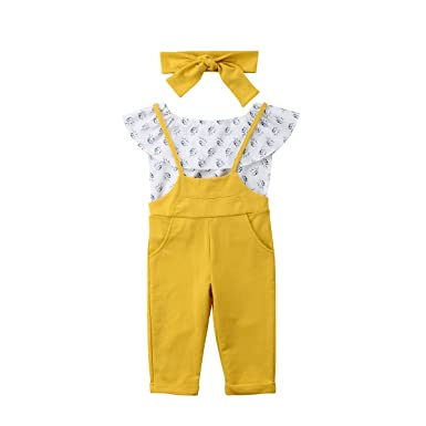 46f58e06f Amazon.com: 3 PCS Toddler Baby Girls Ruffle Off Shoulder Top+Overall  Suspender Pants Outfit Set+Headband Kids Summer Clothes Yellow: Clothing