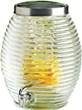 Circleware Beehive ★HUGE★ 3.5 Gallon Glass Beverage Drink Dispenser with Fruit Infuser, Spigot and Metal Lid, Torino Collection, Limited Edition Glassware Drinkware