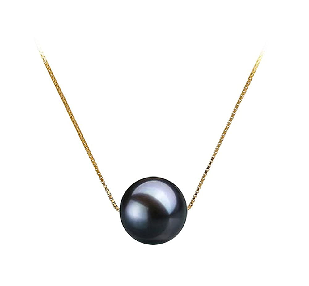 Black Freshwater Cultured Pearl Pendant Necklace 16//18 Sterling Silver Chain Necklace Pendant