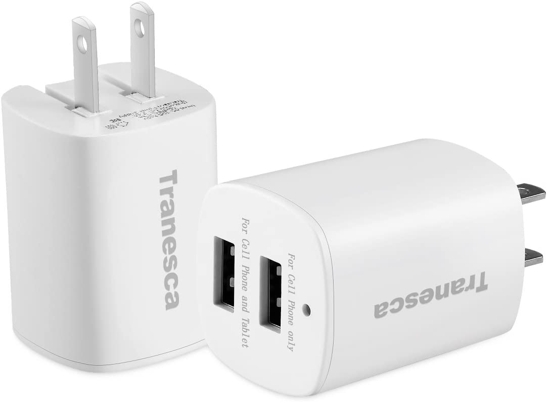 Tranesca Dual USB Wall Chargers for iPhone Xs/Xs Max,iPhone XR/8/7/6S/6S Plus/6 Plus/6, Samsung Galaxy S7/S6/S5 Edge, LG, HTC, Moto, Kindle and More-2 Pack (White)