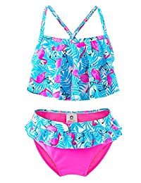 IKALI Girls Two-Piece Bikini, Flouncing Hawaii Floral Printing Swimsuit, Beach Bathing Suit for Vacation