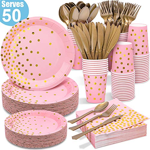 Pink and Gold Party Supplies 350PCS Disposable Dinnerware Set – Pink Paper Plates Napkins Cups, Gold Plastic Forks…