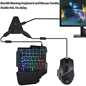 Motospeed Custom Backlit Mechanical Feel Gaming Keyboard and Mouse, C91 Keyboard and Mouse Adapter for PS4/Xbox One/Switch/PS3/PC (Color: Black-red, Tamaño: combo)