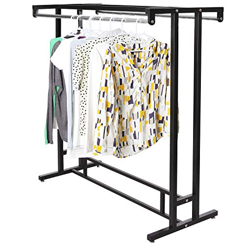 MyGift Stainless Steel Double Rod Hangrail Department Store Style Clothes/Garment Floor Display Rack ()