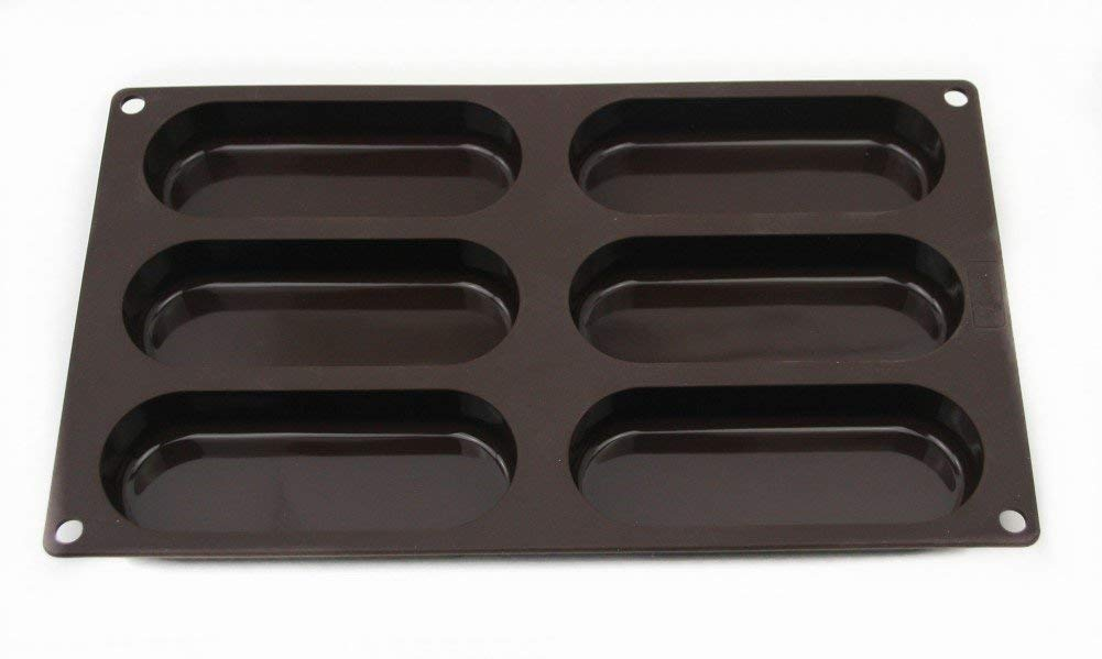 Lurch Germany Flexiform Hotdog Buns 11.8x6.9 inches 6 cavity brown by Lurch (Image #2)