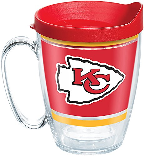 Tervis 1257368 NFL Kansas City Chiefs Legend Tumbler with Wrap and Red Lid 16oz Mug, Clear