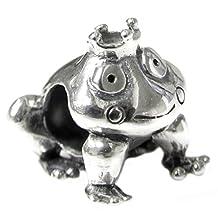 .925 Sterling Silver Smile Frog Prince w/ Crown Bead For European Chamilia Biagi Troll Pandora Charm Bracelets