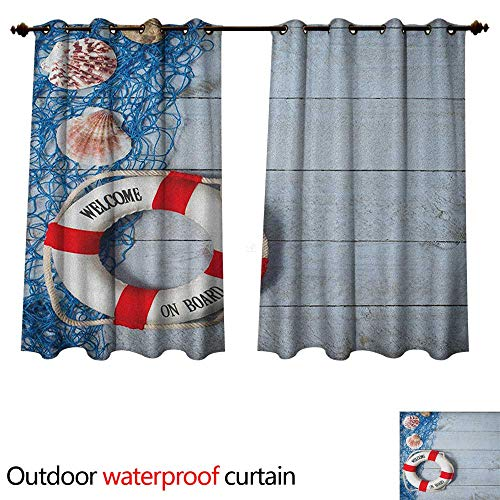 Anshesix Buoy Home Patio Outdoor Curtain Welcome on Board Message on Lifebuoy with Fishing Net Seashell Wood Floor of Boat W55 x L45(140cm x 115cm)