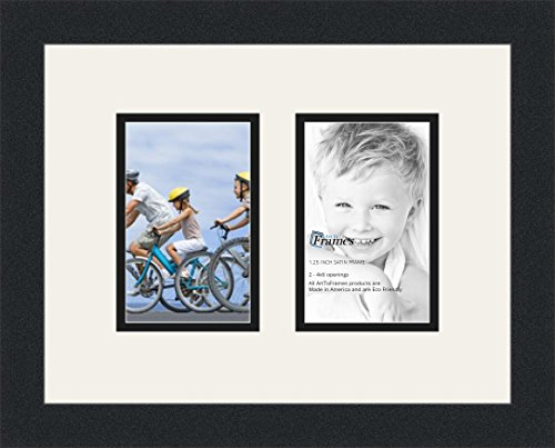 ArtToFrames Double-Multimat-530-61/89-FRBW26079 Collage Photo Frame Double Mat with 2-4x6 Openings and Satin Black Frame, Super White, 2-4x6