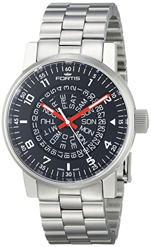 Fortis Men's 623.10.51 M Spacematic Classic White-Red Analog Display Automatic Self Wind Silver Watch