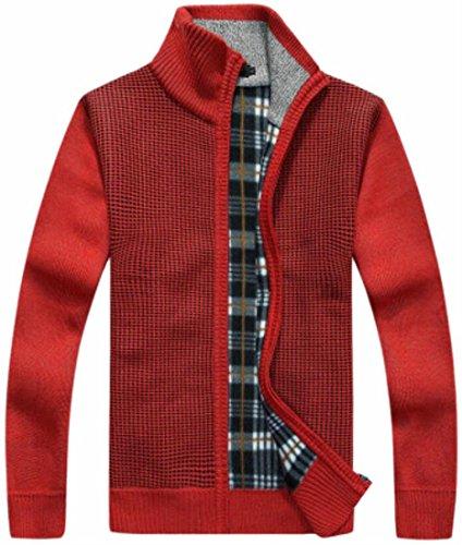 Slim Maglia Maglione Alla Rosso Fit uk Coreana Giacca Colletto Lavorato Zip Mens Oggi Up Cardigan A wgx46zwHq