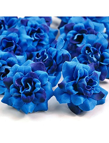 Zacoo Silk Roses Artificial Silk Flower Heads 50pcs. Silk Tone-Blue (Blue Fake Flowers)