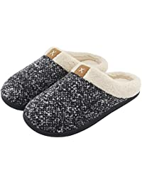 Men's Cozy Fuzzy Wool-Like Plush Fleece Memory Foam Slip-on Clog Winter House Shoes