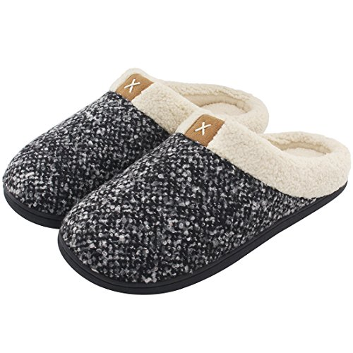 Men's Comfort Memory Foam Slippers Wool-Like Plush Fleece Lined House Shoes w/Indoor, Outdoor Anti-Skid Rubber Sole (Large / 11-12 D(M) US, Black)