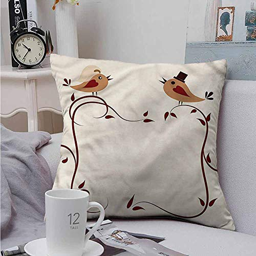 Fbdace Double-Sided Printing Throw Pillowcase Animals Wedding Announcement Birds Premium,Ultra Soft,Hypoallergenic,Breathable 14 X 14 Inch