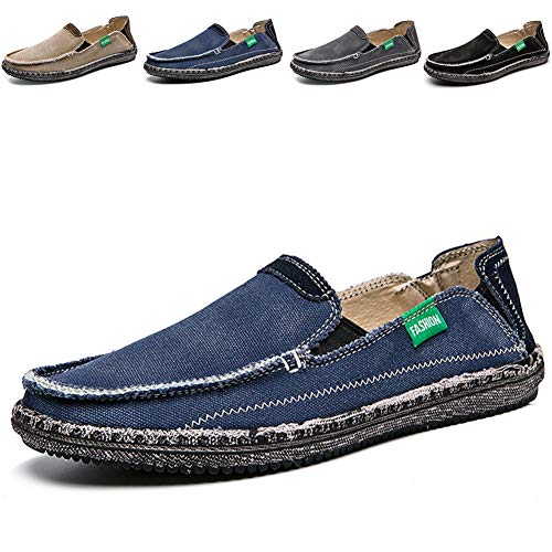 CASMAG Men's Casual Cloth Shoes Canvas Flat Slips On Loafers Outdoor Breathable Boat Shoes Blue 2 US 9 M ()