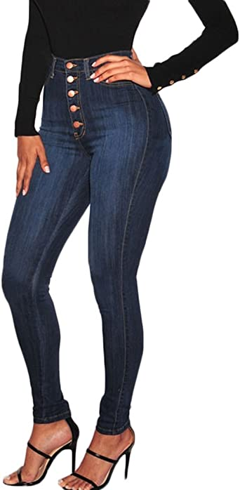 Amazon Com Pantalones Vaqueros Ajustados De Cintura Alta Para Mujer Clothing
