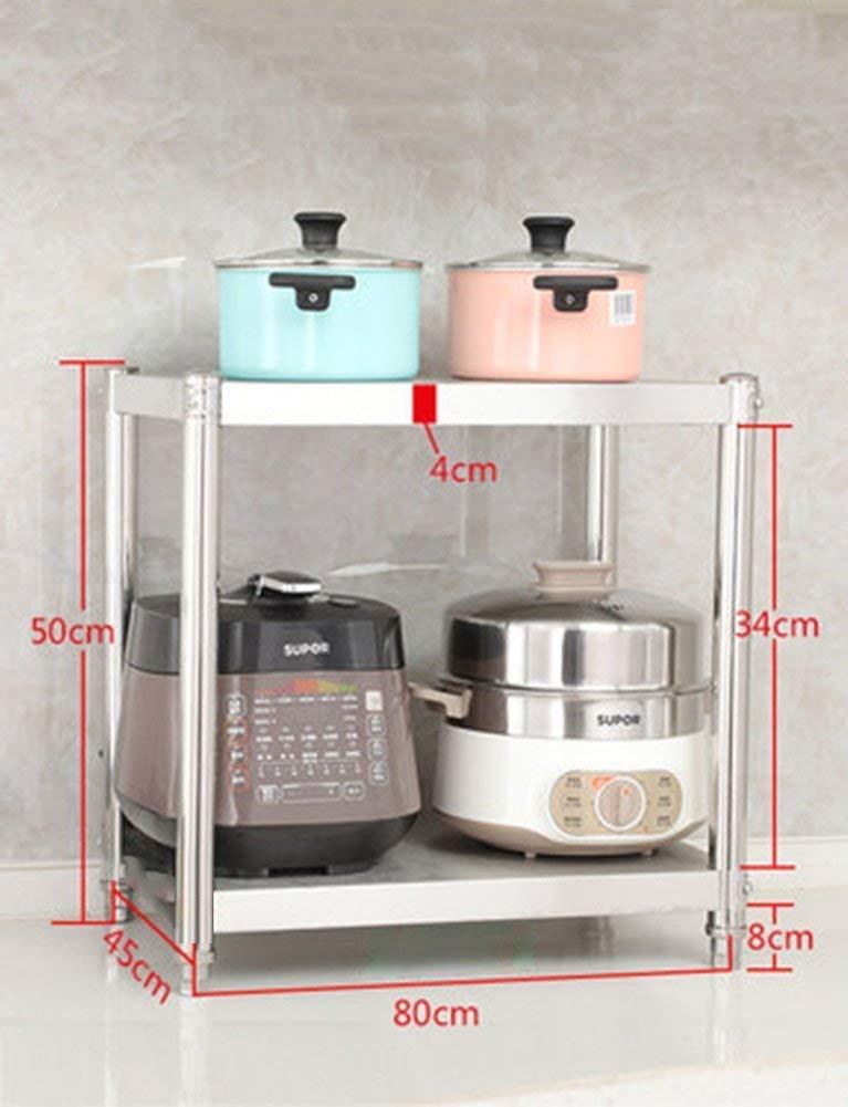 Chuan Han Han Sobre la Estufa Soporte para Microondas Mini Refrigerador en la Esquina Blanco Encimera 2 Gradas Estante de Metal de Acero Inoxidable, c, ...