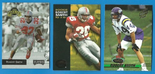ROBERT SMITH Lot of 3 1993 Rookie Cards - RC - Skybox Premium - Playoff - Stadium Club - Buckeyes Vikings - A