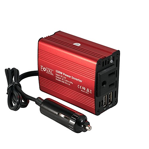 Foval 150W Car Power Inverter DC 12V to 110V AC Converter with 3.1A Dual USB Car Charger (red)