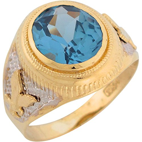 10k Two Tone Gold Simulated Blue Zircon Patriotic Eagle Mens Ring