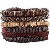 4pcs/lot Punk Genuine Wrap Leather Bracelets Men For Women Charm Wood Beads Bracelets Cuff Jewelry Accessories