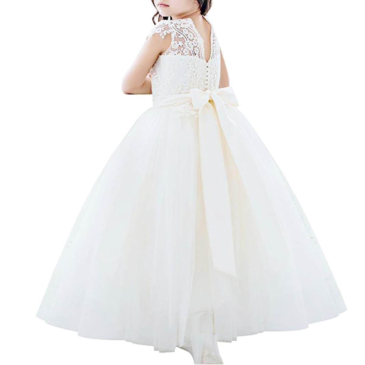 Flower Girls Ivory Lace Bridesmaid Dresses Long A line Tulle Wedding Princess Pageant Party Gown First Communion 2-13Y