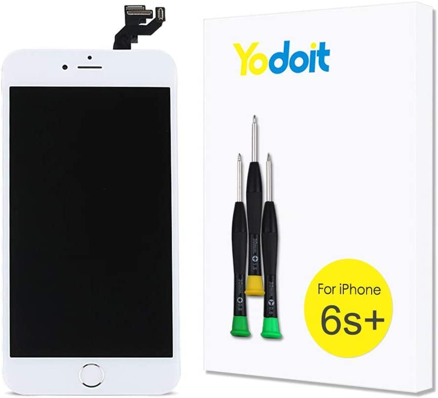 Yodoit for iPhone 6s Plus Screen Replacement Touch LCD Display Digitizer Glass Full Assembly Camera Home Button Proximity Sensor Earpiece Speaker + Tool 5.5 inches (White)