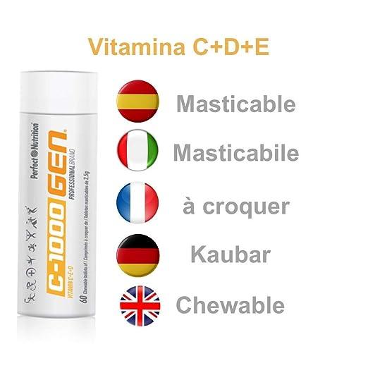 Vitamina C + E + D Masticable alta concertación 60 comprimidos de 2500mg tratamiento multivitaminico para 2 meses. Producto profesional PREMIUM