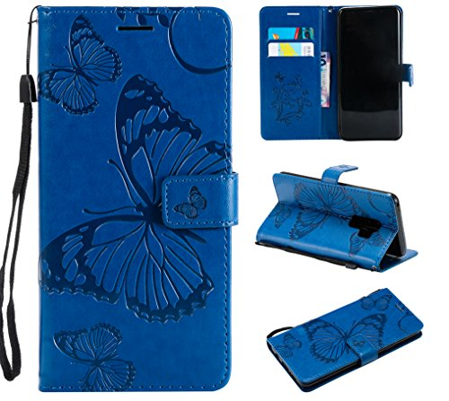 Price comparison product image NOMO Galaxy S9 Plus Case, Galaxy S9 Plus Wallet Case, S9 Plus Case with Card Holders, Folio Flip PU Leather Butterfly Case Cover with Card Slots Kickstand Phone Case for Samsung Galaxy S9 Plus, Navy Blue