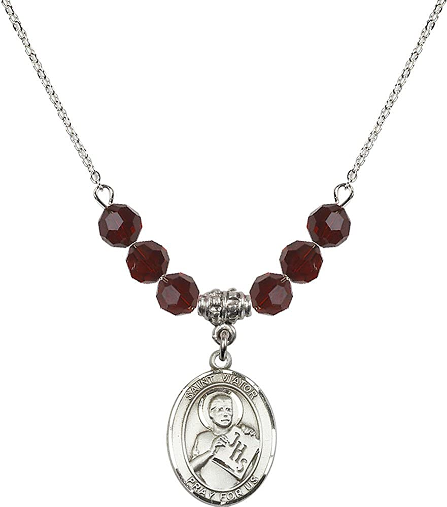 18-Inch Rhodium Plated Necklace with 6mm Garnet Birthstone Beads and Sterling Silver Saint Viator of Bergamo Charm.