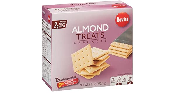 Amazon.com: Rovira - Almond Treats Crackers (8 foil fresh packs/box) - 9.6 oz Box (Count of 2)