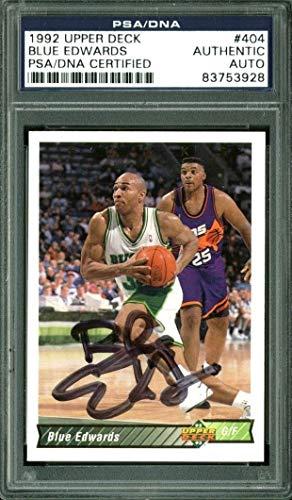 Bucks Blue Edwards Authentic Autographed Signed Card 1992 Upper Deck #404 PSA/DNA Slabbed -