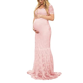 Bookear_Dress Maternity Sexy Off Shoulder Photography Dress Lace Floral Gown For Photoshoot at Amazon Womens Clothing store: