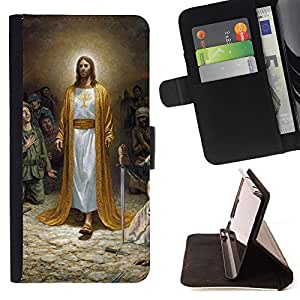 King Air - Premium PU Leather Wallet Case with Card Slots, Cash Compartment and Detachable Wrist Strap FOR LG OPTIMUS L90- My God OMG Jesus Christ Cross
