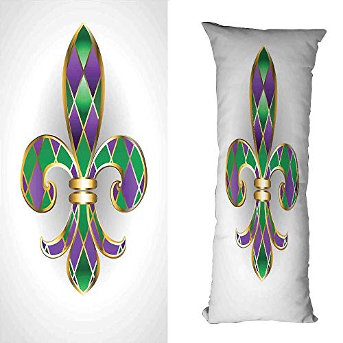 DuckBaby Customized Pillowcase Fleur De Lis Gold Colored Lily Symbol with Diamond Shapes Royalty Theme Ancient Art Soft and Breathable W23.5 xL67 Gold Purple Green