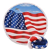 Genovega Thick Round Beach Towel Blanket - USA Flag Large Microfiber Terry Beach Roundie Circle Picnic Carpet Yoga Mat with Fringe for Men 2