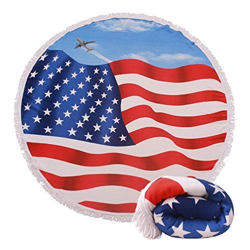 Genovega Thick Round Beach Towel Blanket - USA Flag Large Microfiber Terry Beach Roundie Circle Picnic Carpet Yoga Mat with Fringe for Men 2 ()