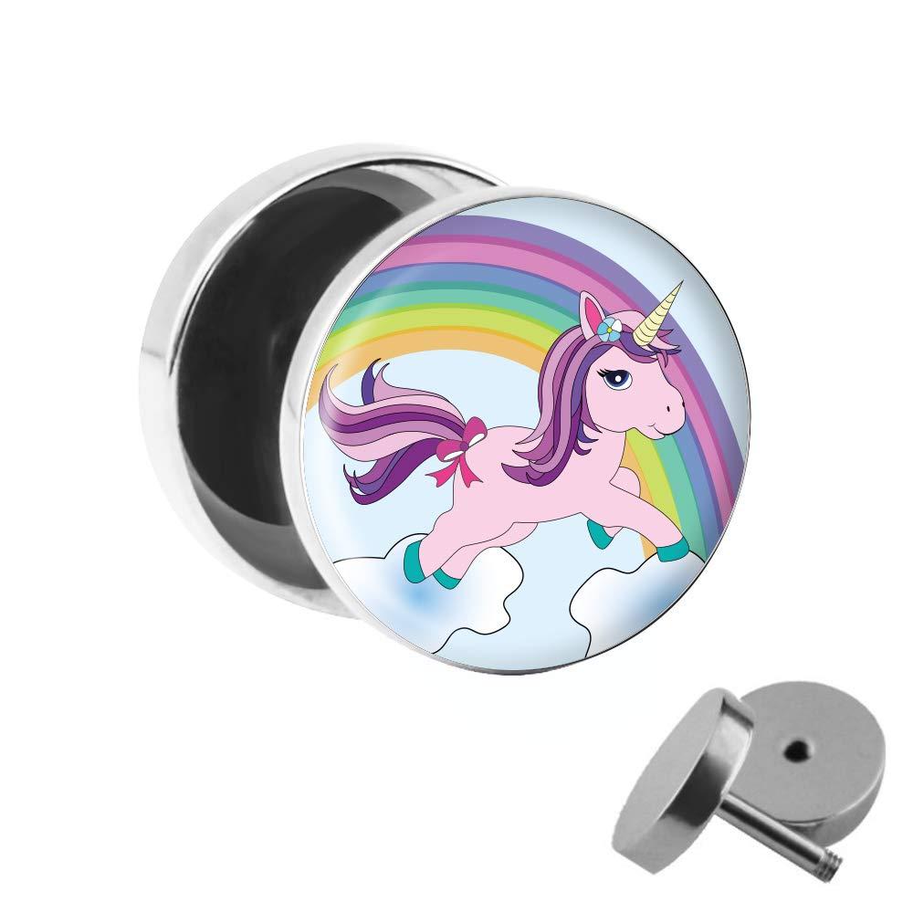 Pendiente con diseño de unicorno y arcoiris, modelo fake plug ...