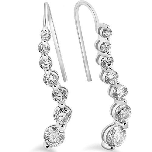 1ct Diamond Journey Earrings 14K White Gold 1