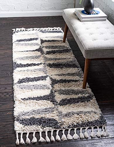 Unique Loom Hygge Shag Collection Abstract Geometric Plush Cozy Gray Runner Rug 2 7 x 8 2