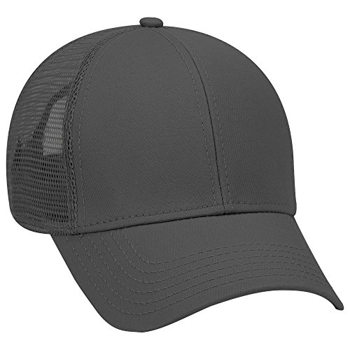 Twill 6 Panel Low Profile Mesh Back Trucker Hat - Black ()