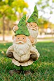Alpine Two Gnomes Playing Garden Statue