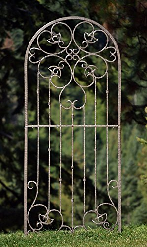 H Potter Large Garden Trellis Wrought Iron Heavy Scroll Metal Decoration Powder Coat Finish-Lawn, Patio & Wall Decor Screen for Rose, Clematis, Ivy Weather Resistant Patio Deck Wall Art Model - Powder Iron Coat