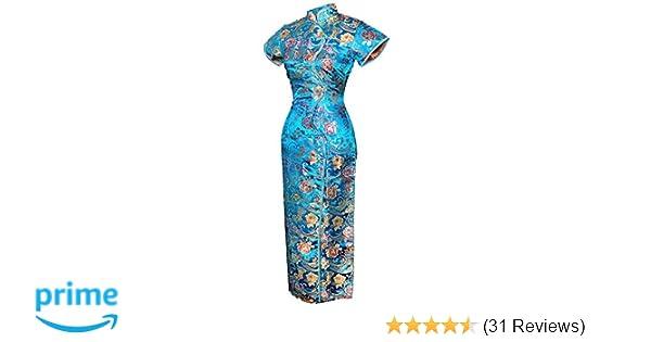 4f3fc1f66 7Fairy Women's Vtg Turquoise Ten Buttons Long Chinese Dress Cheongsam