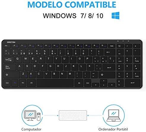 OMOTON Teclado Inalámbrico con USB, Teclado Español Ordenador Portátil Windows 7/8/10 con Teclas Numericas (2.4 GHz, inalámbrico, Windows) Negro